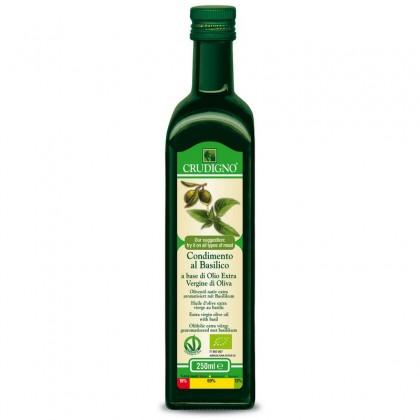 Crudigno bio ulei masline extravirgin cu busuioc 0.25 l