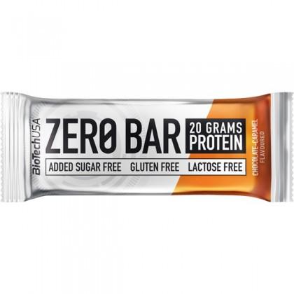 Biotech Zero Bar Baton proteic cu ciocolata si caramel 50g