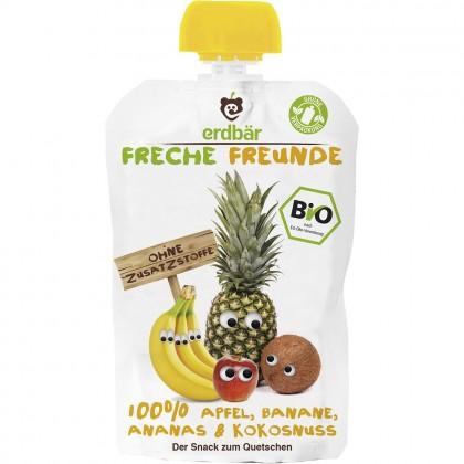 Erdbar Freunde BIO Piure de mere banane ananas si nuca de cocos 100g