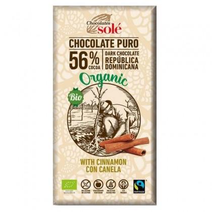 Chiocolates Sole BIO Ciocolata neagra 56% cacao si scortisoara  100g