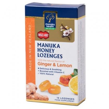 Manuka Health Bomboane cu miere de Manuka MGO 400+ cu ghimbir si lamaie 65 g